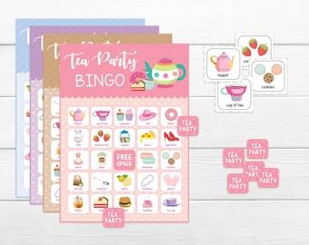 BINGO for kids Tea Party in 4 colours! BINGO GAME Printable bingo game for girls Instant download party game Bingo game for child's party