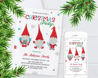 Xmas party invite you can personalise, Christmas Party Invitation, Editable Christmas Invitation,  download and print instantly at home.