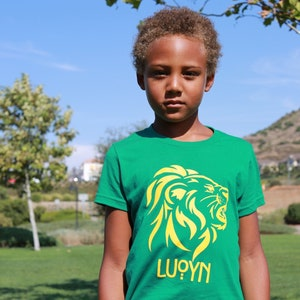 green and gold Youth Lion Shirt
