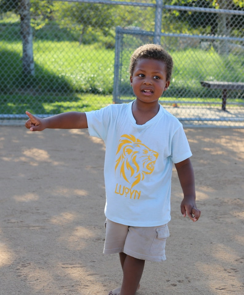 blue and yellow Toddler Lion Shirt