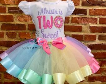 Donut  tutu Outfit | Pastel rainbow tutu | Two Sweet Donut tutu outfit | Donut birthday | Two Sweet Birthday outfit | Donut birthday shirt