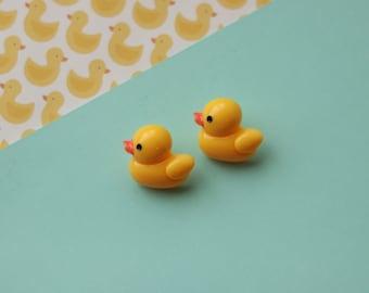 rubber duck stud earrings / yellow ducky earrings