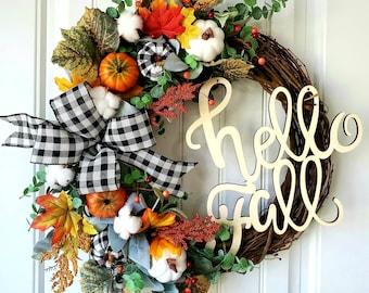 Fall Wreath, Pumpkin Wreath, Cotton Wreath, Lambs Ear Buffalo Fall Wreath