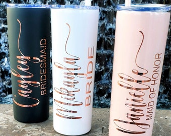 Custom Wedding Gifts Bachelorette Party Maid of Honor Tumbler Personalized Name Tumblers Bridesmaid Tumbler
