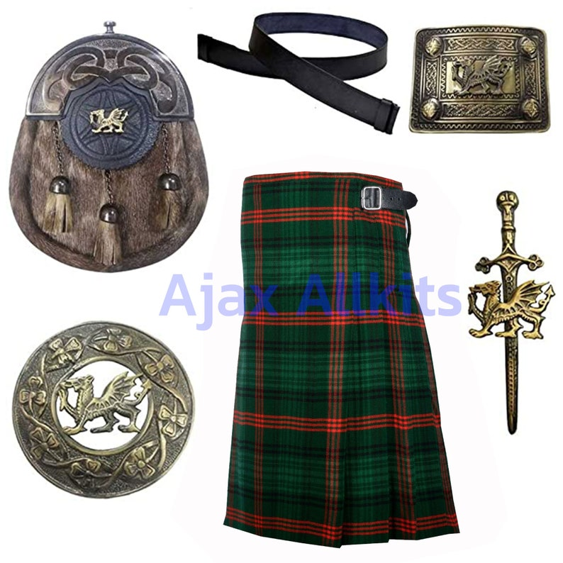 16oz Heavy Acrylic Wool Men/'s Traditional Scottish Highland 08 Yard Rose Hunting Tartan Kilt