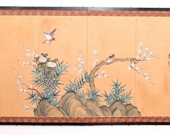 Japanese four panel folding screen Showa screen signed Japanese screen byobu screen bird and flower silk screen plum blossom asian screen