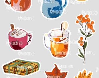 All things Fall sticker sheet | Fall stickers | Pastel drawings fall
