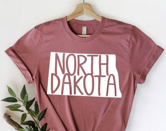 North Dakota State Shirts, North Dakota State Map Shirt, North Dakota Travel Gifts, North Dakota Clothing, North Dakota Sweatshirt
