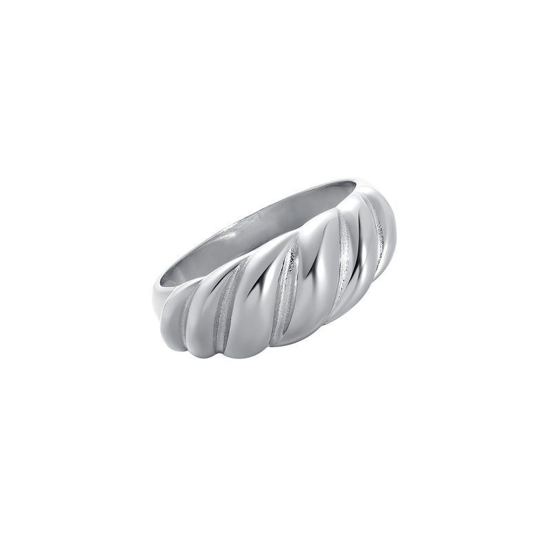 Silver Chunky Ring Bold Statement Silver Ring Statement Ring Silver Croissant Ring Minimalist Silver Ring