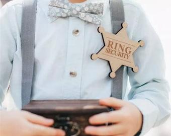 Ring security Badge / ring bearer badge / wedding / page boy / rustic wedding / natural / timber/ Vintage wedding decoration