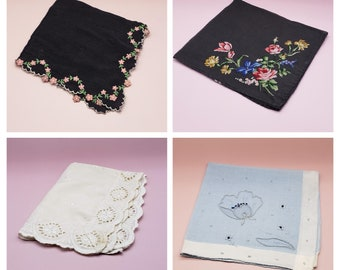 Vintage Black, Blue, Eyelet Floral Handkerchiefs, elegant vintage decor (Individually Sold)