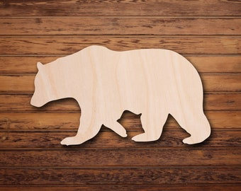 Bear 02 - Laser Cut Unfinished Wood Cutout Shapes, Measured in Width