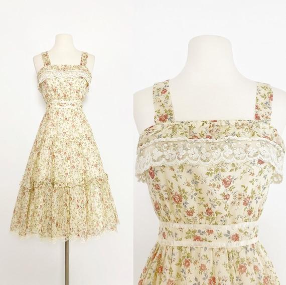 GUNNE SAX | 1970s Ruffle Floral Dress - image 1