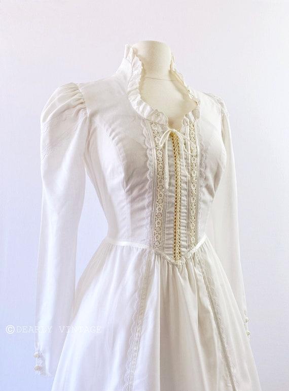 GUNNE SAX   1970s Ruffled Lace-Up Dress - image 3