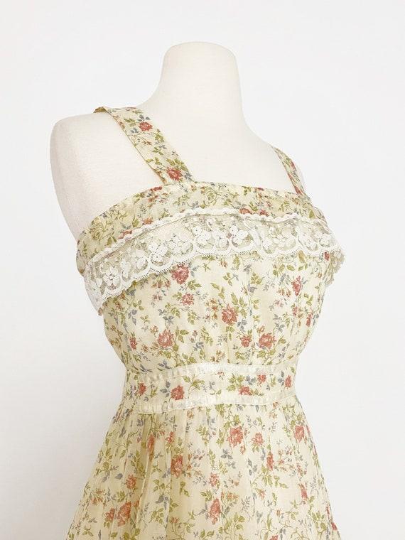 GUNNE SAX | 1970s Ruffle Floral Dress - image 3