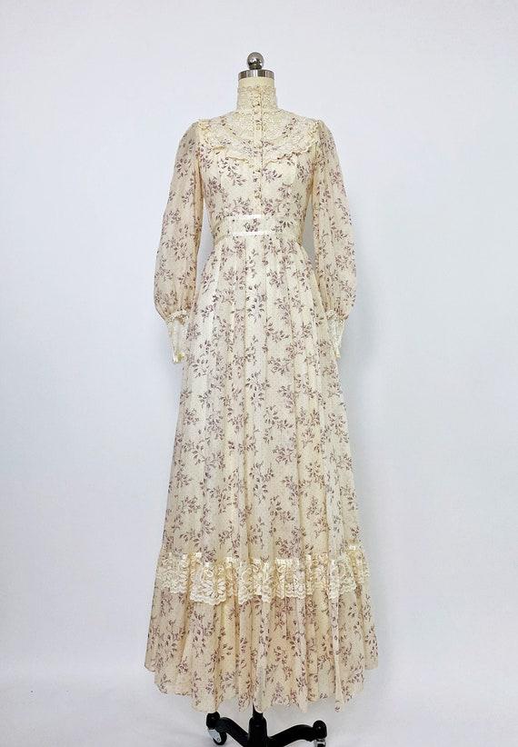 GUNNE SAX | 1970s High-neck Floral Maxi Dress