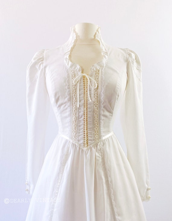 GUNNE SAX   1970s Ruffled Lace-Up Dress - image 6