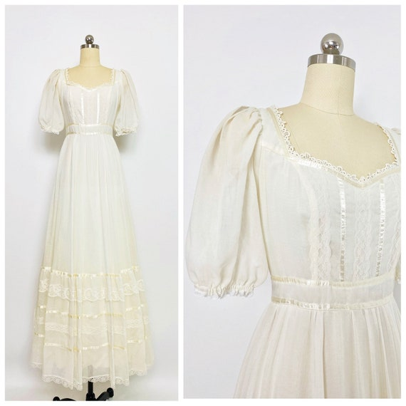 GUNNE SAX | 1970s Puff Sleeve Maxi Dress