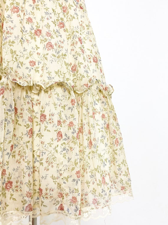 GUNNE SAX | 1970s Ruffle Floral Dress - image 9