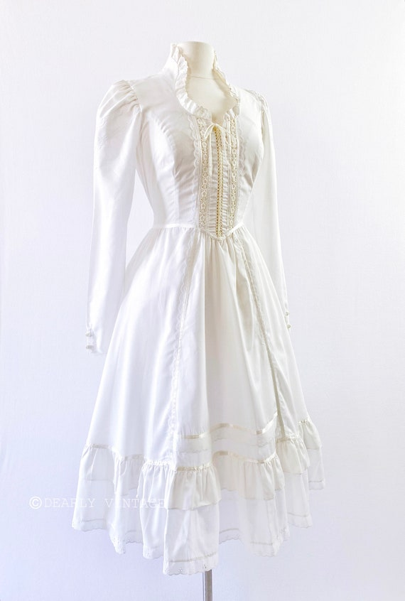 GUNNE SAX   1970s Ruffled Lace-Up Dress - image 2