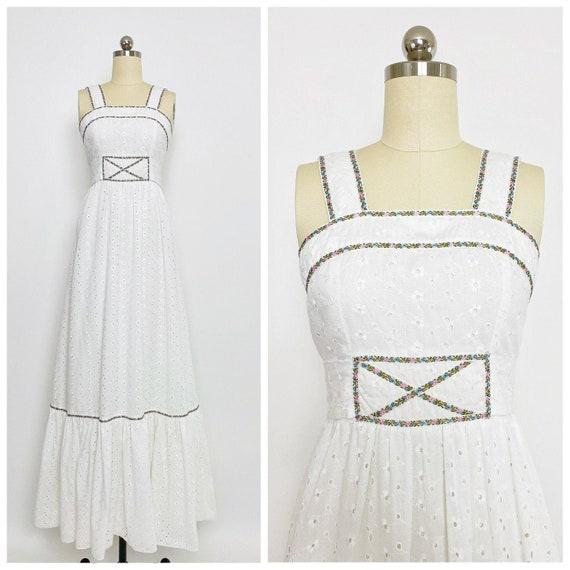 CANDI JONES CALIFORNIA | 1970s Eyelet Maxi Dress