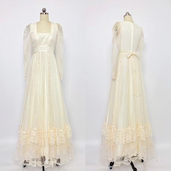 GUNNE SAX   1970s Lace Trimmed Mesh Gown   vintage