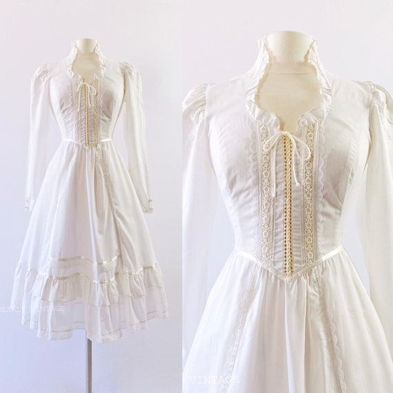 GUNNE SAX   1970s Ruffled Lace-Up Dress - image 1