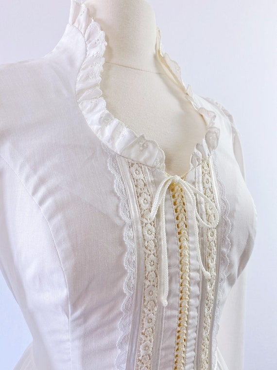 GUNNE SAX   1970s Ruffled Lace-Up Dress - image 4