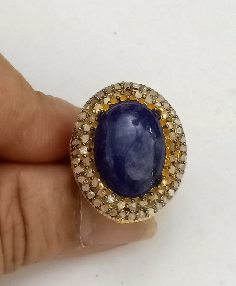 Natural Emerald Blue Sapphire Ring 925 Silver Ring Lapis lazuli Ruby Labradorite Birthstone Ring Size 5 us To 9 Us Ring Size Available