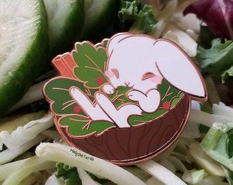 """1.5"""" Metal Enamel Pin - Rabbit Food"""