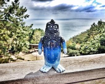 Blue night SEALMON - art toy, designer toy, sofubi toy, soft vinyl toy, sofvi toy