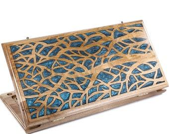 LUXURY BACKGAMMON SET - Epoxy Trees Backgammon Two-Sided Classic