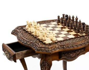 """CHESS TABLE - Luxurious Carved lacquered / 24"""" x 24"""" x 24"""""""