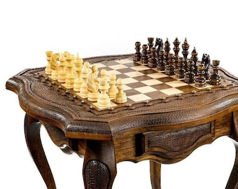 """CHESS TABLE - Classic with beeswax finish / 24"""" x 24"""" x 24"""""""