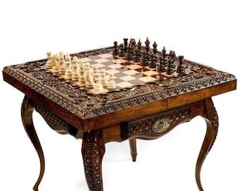 "CHESS TABLE - Luxurious Handmade / 24"" x 24"" x 24"""