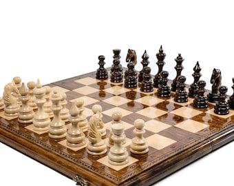 """CHESS SET Classic / Large Chess Carved / Personalized / 19,5"""" x 19.5"""""""
