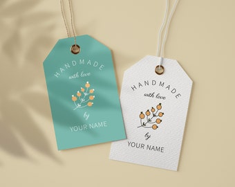 Labels for handmade items-Personalized custom hang tags-Made with love tags for crafters-Cute small business tags-Editable holiday gift tags