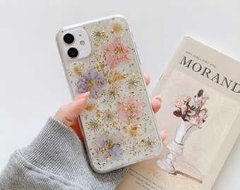 Real pressed flower custom phone case with ring chain iphone 11 12 Pro Max XS Max X XR case