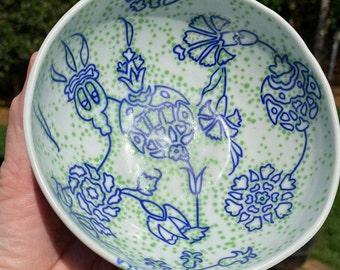 Handmade porcelain pottery bowl. Wheel thrown in North Carolina by Carol Burns