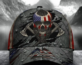 Viking American Flag Classic Cap, Skull Hat, American Flag Cap, Personalized Cap, Human Cap, Strapback Cap, Unisex Hat, Classical Cap