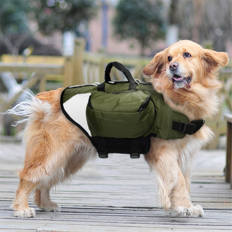 Outdoor Dog Backpack Harness Reflective Dogs Pack Hound Travel Camping Hiking Backpacks Saddle Bag for Medium Large Dogs