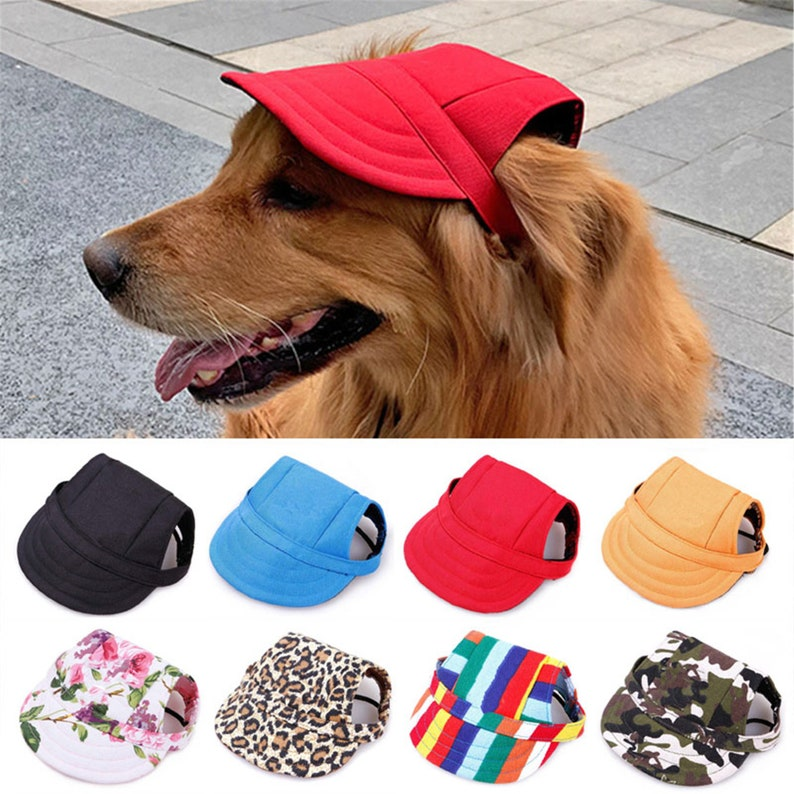 Pet Hat with Ear Holes Adjustable Baseball Cap for Large image 0