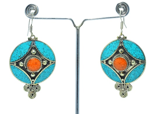 ethnic hook silver Tibetan cone Earrings blue turquoise cabochon and howlite stone bead women/'s fashion jewelry
