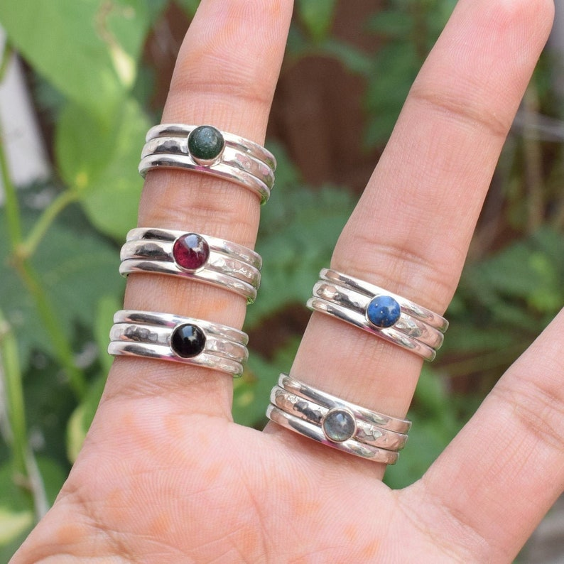 Spinner Ring Spinner Ring Natural Labradorite Solid 925 Sterling Silver Meditation Ring Fidgeting Ring Ring for Anxiety