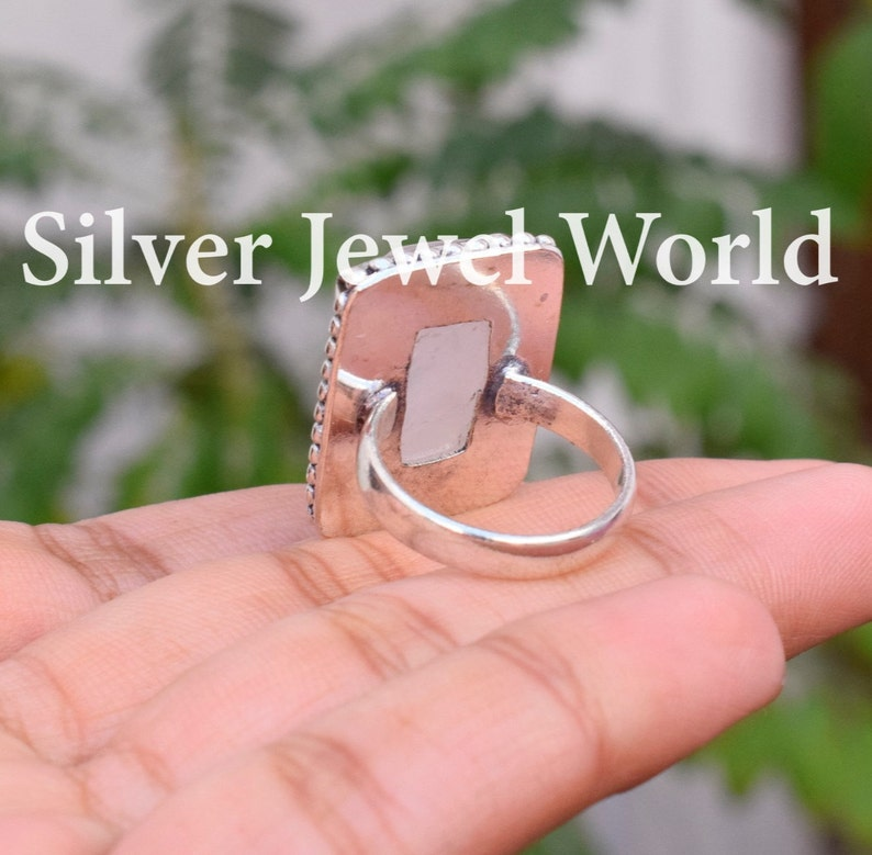 Best Seller Ring Rose Quartz Ring Gift For Him 925 Sterling Silver Plated Rose Quartz Designer Ring Gift for her Personalized Gift