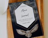 Freya - Magical Owl, Floating Candles Invitation, Wedding Invitation Template, Instant Download, Magical Wedding, Navy and Gold, DIY
