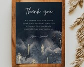 PARVATI - Magical Floating Candles Thank You Card, Navy Wedding Template, Instant Download, Magical, Navy and gold program, diy program