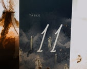 PARVATI - Magical Floating Candles Table Number, Navy Wedding Template, Instant Download, Magical, Navy and gold program, diy printable