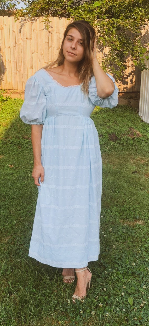 Dreamy 70s Baby Blue Puff Sleeved Maxi Dress XXS