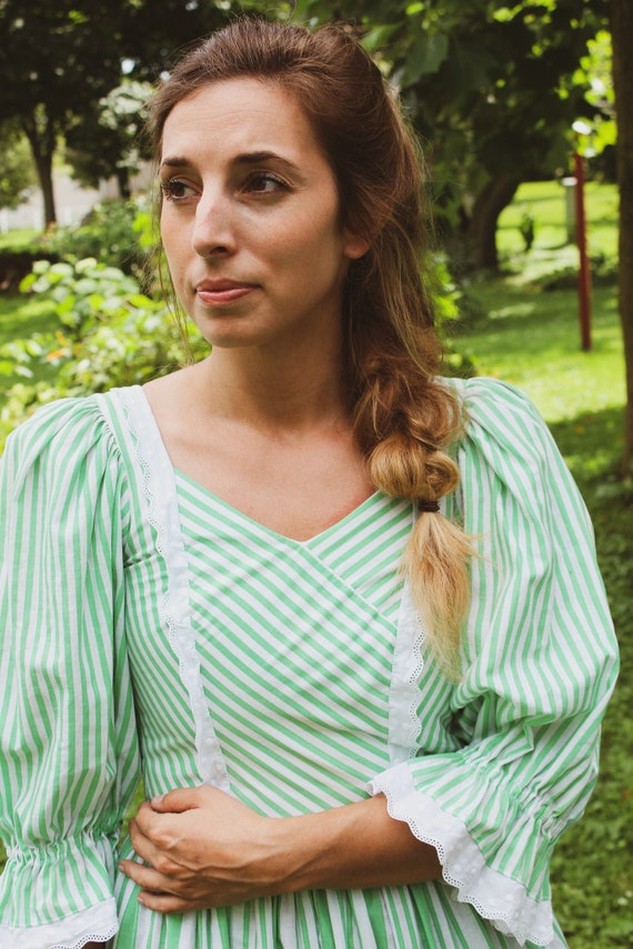 Puff Sleeved Green Striped Sportalm Dress, Made in